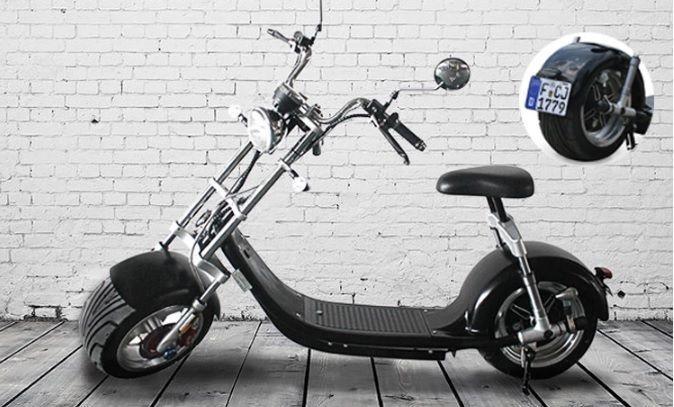 Elektrické koloběžky, elektrické tříkolky Elektrická koloběžka Classic chooper citycoco N-4 1500 W baterie 20 Ah dojezd 70 km černé barvy Elektrické koloběžky, elektrické tříkolky
